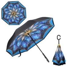 Drop Shipping Double Layer Inverted Umbrella Reverse with C-shaped Hands Long Handle Self Standing Inside Out