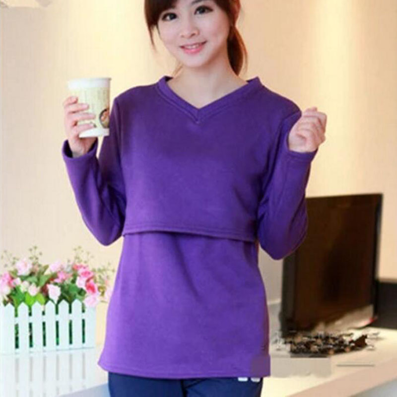 Thickened Maternity Nursing Tops Solid Pregnancy Breastfeeding Tees Shirt Clothes For Pregnant Women Wear Feedding Clothing 2