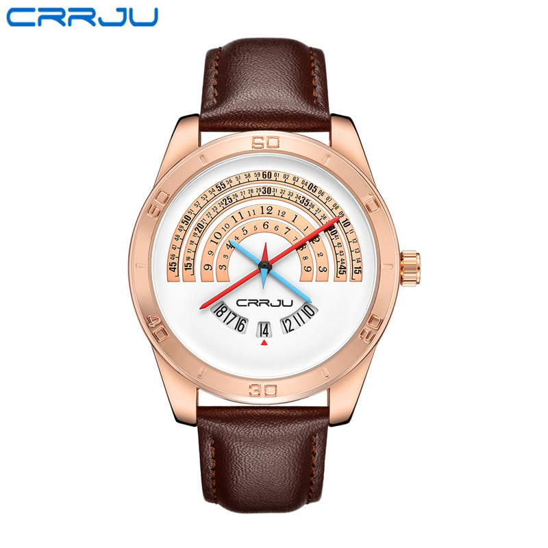 CRRJU Creative Time Calendar Semicircle Scale Male Watch Genuine Leather Strap Quartz Wristwatches Fashion Watches for Men<br>