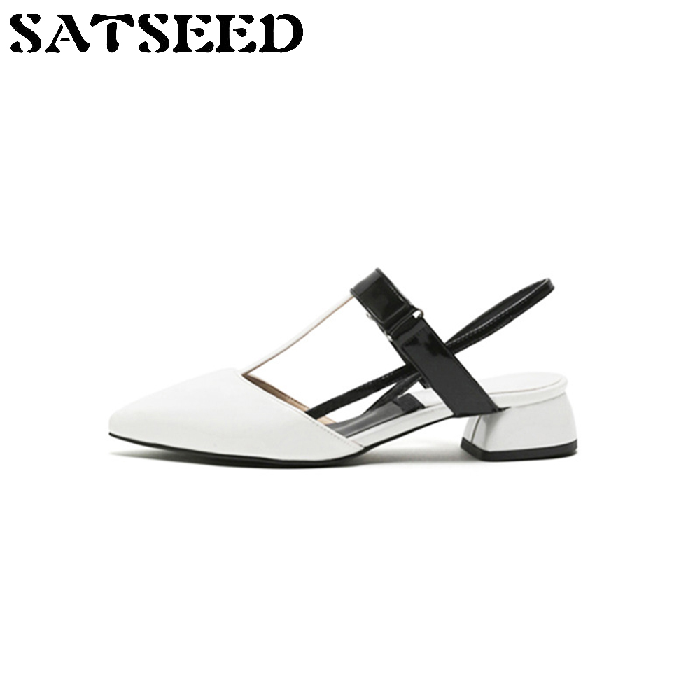 2017 Summer New Europe Word Buckle Pointed Shoes Sandals Buckle Square Heel Open Thick Hollow Tide Fashion<br>