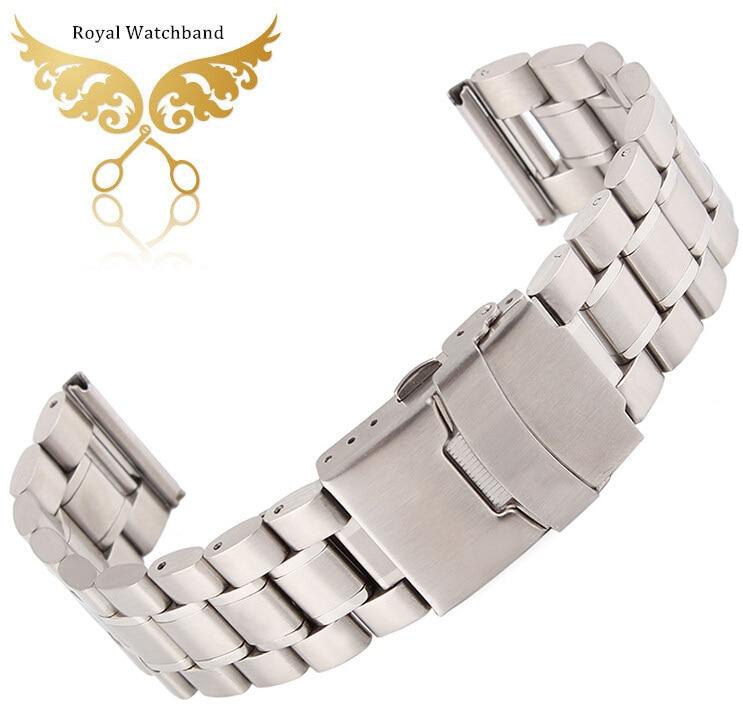 Silver 18mm 20mm 22mm 24mm Stainless Steel Bracelet Watch Band Strap Watchbands Double Flip Lock Clasp<br><br>Aliexpress