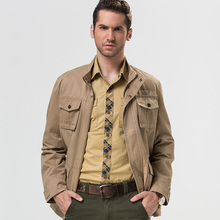 High quality 2017 Spring men's casual brand jackets black coats man autumn 100% pure cotton khaki jacket big pocket army coat
