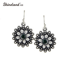 Shineland Flower Drop Earrings For Women 2017 New Vintage Antique Silver Color Carved Crystal Drop Statement Earrings Jewelry(China)