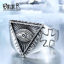 BEIER Stainless Steel Man's All-see evil Eye Mens ring Fashion Cool Cross Adjustable Vintage Jewerly Punk Style BR8-176(China)