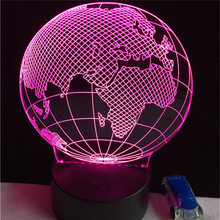 Acrylic Led party earth globe night light fixtures 3W 5V colorful with touch button 3 AAA battery power supply party lights(China)