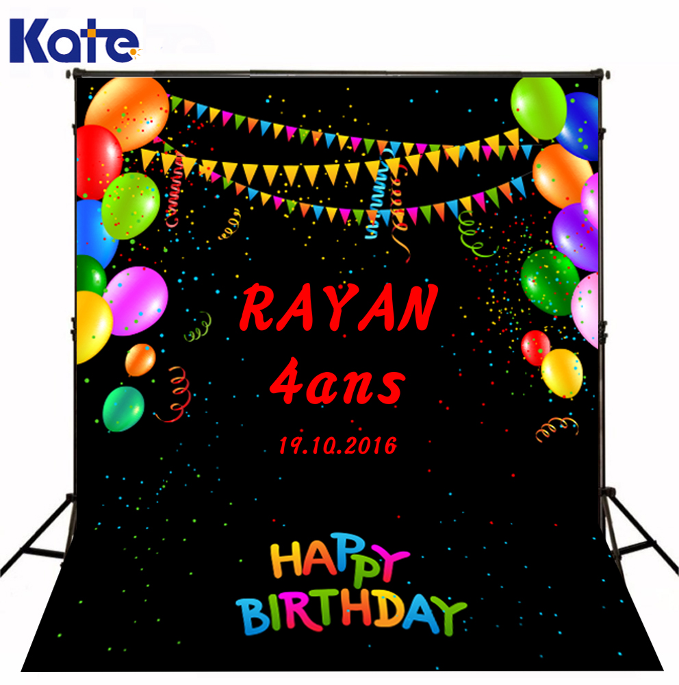 Kate Children Black Photography Backdrops Black Happy Birthday Photo Studio For Children Backdrop<br>