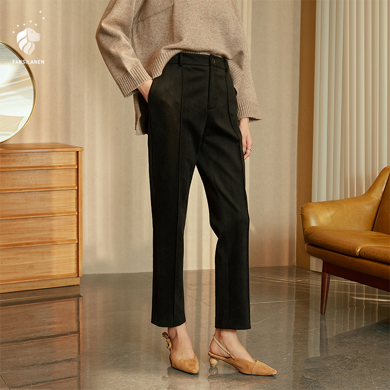 FANSILANEN 2019 New Arrival Fashion Autumn/Spring Women Work Pants Trousers Flare Loose Solid Black Elastic Waist Z86094