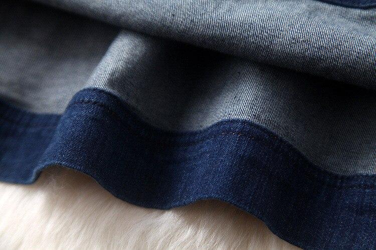 17 Summer Casual Dress Fashion Denim Jeans Dresses Vestidos Cotton Messh Embroidery patchwork Plus Size S-4XL Women Clothing 12
