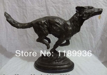 "18"" Chinese Bronze Western Art Sculpture Running Field Wolf Statue Marble Base"
