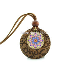 New Design Glass Cabochon Dome Jewelry Abstract Mandala Pendant Moroccan Necklace Wood Necklace(China)