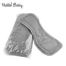 5pcs/10pcs  Quality 4 layers baby diapers Bamboo Liner Inserts Cloth Gray soft reusable washable Comfortable Infant nappy