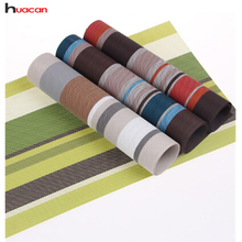 HUACAN New 4pcs /lots Placemats PVC Home Decoration 4 Colors Silicone Striped Mats for Kitchenware and Cup