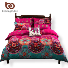 BeddingOutlet Magenta Bedding Set Bedspread for Wedding Boho Duvet Cover Noble Bohemia Bedclothes 4Pcs Twin Queen jogo de cama