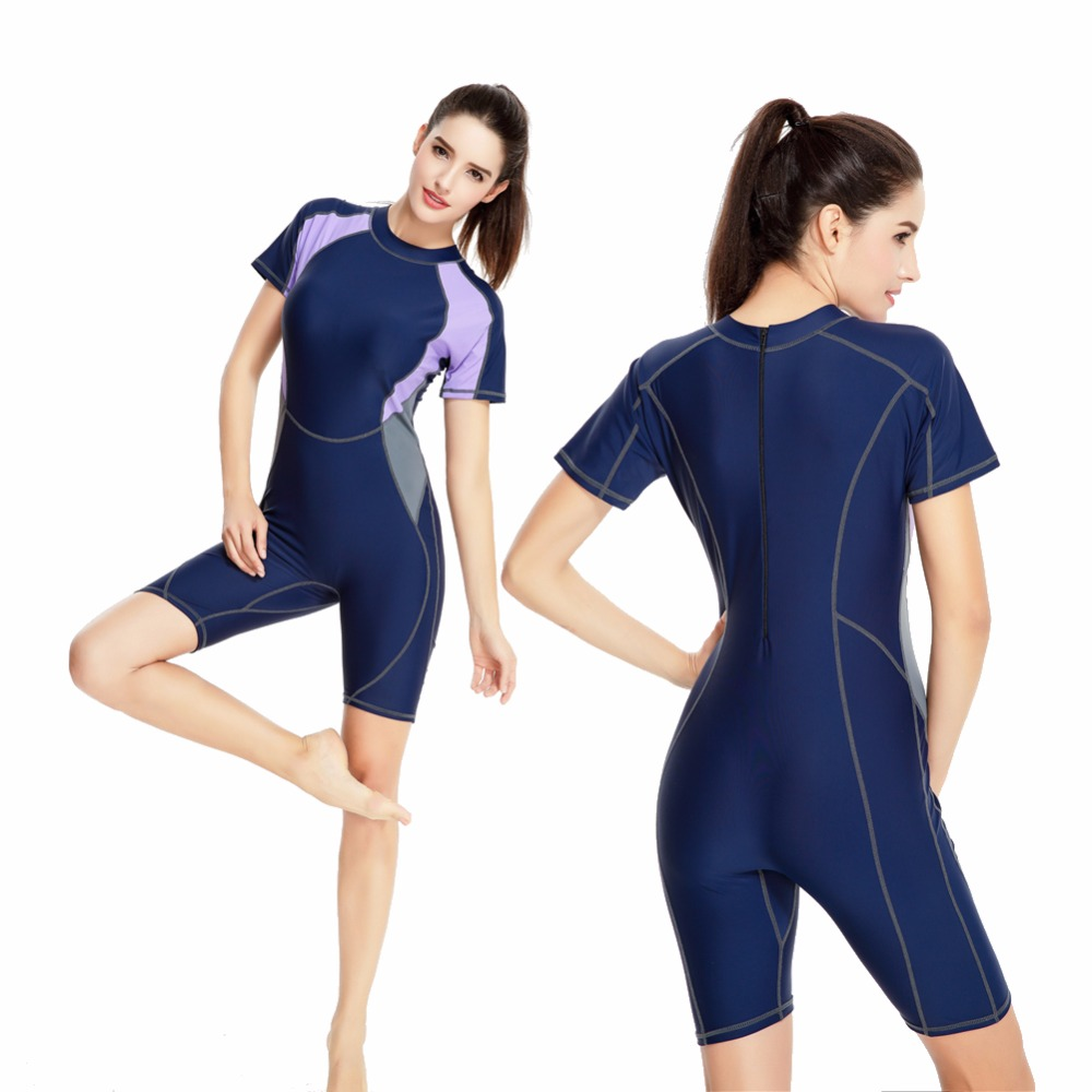 Short Sleeves One Piece Swimsuit Women Patchwork Swimwear Deep Blue Professional Sport Bodysuit Female bigger size Bathing Suit<br>