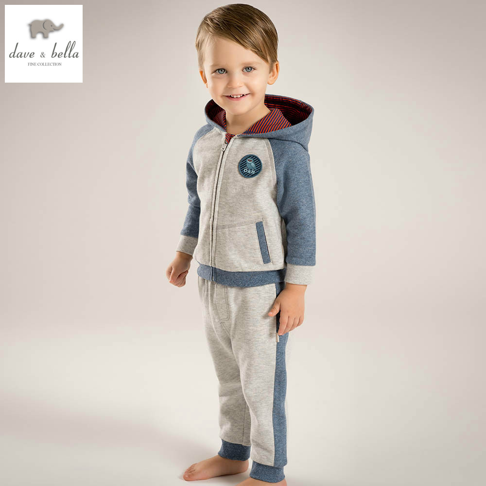 DB4938 dave bella spring baby boy clothing sets kids blue printed clothing sets boy boutique sets sports sets<br>
