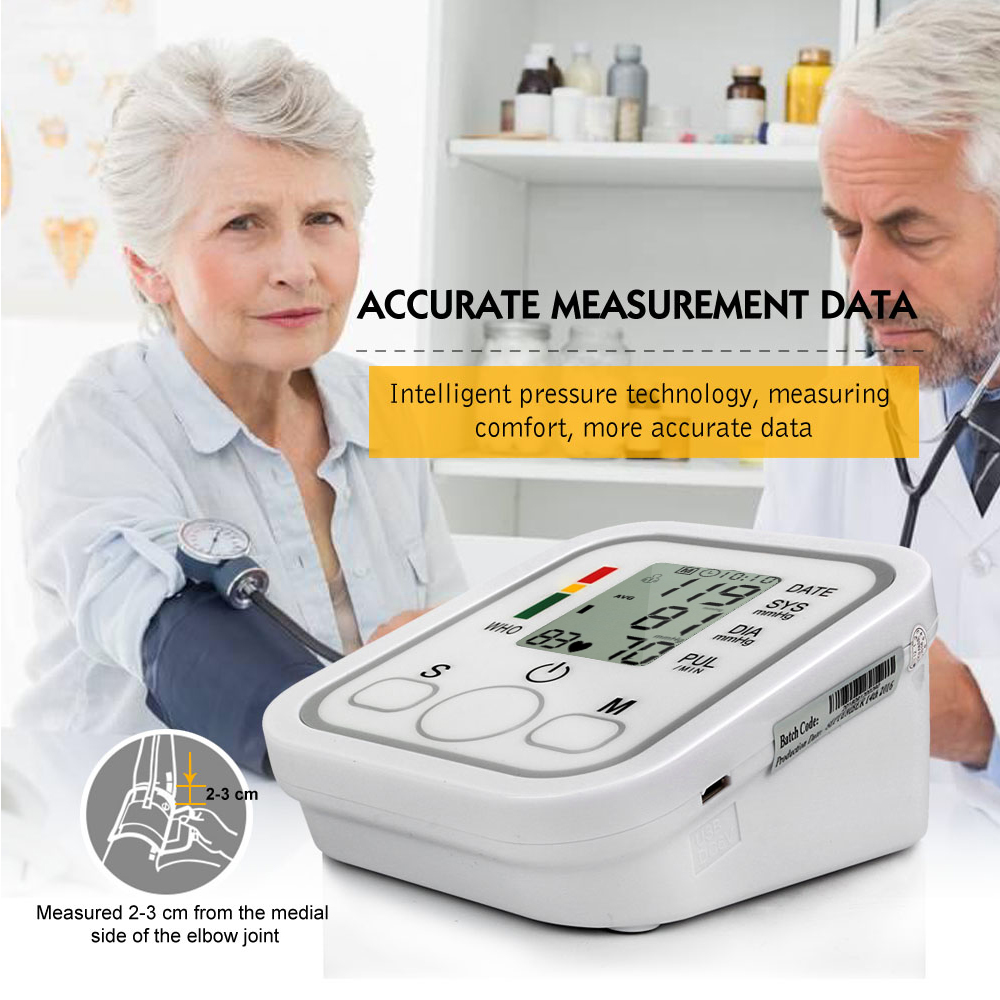 Health Care Household Professional Doctor's Digital Arm Blood Pressure Pulse Tonometer Meter Portable Accurate Home Use Monitor 12