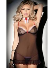 lingerie 3pcs Sexy Black Lingerie Nighty Chemise Babydoll Plus Size 6 8 10 12 14 lingerie(China)