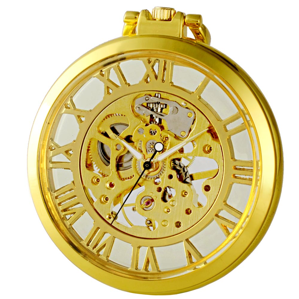 Luxury Fashion Golden Double Side Glass Steampunk Mechanical Skeleton Pocket Watch With Chain Casual Sport<br><br>Aliexpress