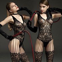 Buy Sexy black Bodystockings Sex toys erotic lingerie lace sleepwear intimates Kimono Sex products crotchless women hot bodysuits