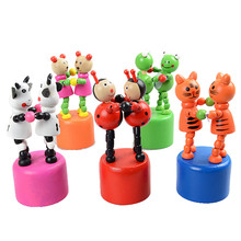 Kids Intelligence Toy Cute 2 Pcs Animals Dancing Stand Rocking Wooden Toy Colorful gags practical jokes Brinquedos Menina #7017(China)