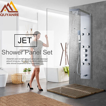 Luxury Wall Mounted Brushed Nickle Rain Thermostatic Mixer Shower Panel  Shower Column Faucet 6pc Massage Jets with Hand Shower