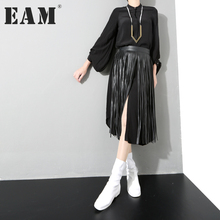 Buy EAM 2018 new spring solid color black loose tassels PU leather belt women fashion tide all-match Q046 for $20.47 in AliExpress store