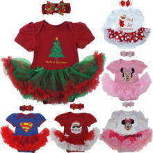 New Baby Girl Clothing Sets Infant Christmas Gifts Lace Tutu Romper Dress Jumpersuit+Headband 2pcs Bebe First Birthday Costumes(China)