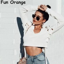 Fun Orange Sexy Lace Up V Neck Knitted Sweater Women Casual Winter Crop Top Sweaters Pullover Female White Jumper