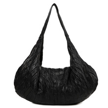 Fashion Brand Style Punk Black Hobos Bag Casual All-match Large Genuine Leather Sheepskin Patchwork One Shoulder Bag