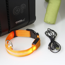 Hot Sales Adjustable Safety Pets Dog LED Flashing Night Light Nylon Collar USB Charging S-XL 5076