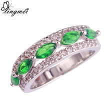 lingmei Big Promotion Fashion Gift Women Jewelry Marquise Cut Green & White CZ Silver Color Ring Size 6 7 8 9 10 11 Wholesale(China)