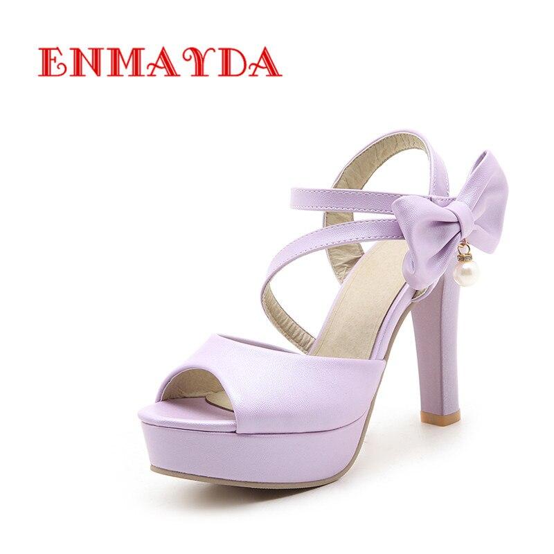 ENMAYDA Ankle-Wrap Hook Retro Pumps Super High Heels Back Strap Spike Heels Lovely Butterfly-Knot Platform Sandals Woman Shoes<br>