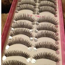 High Quality 10 Pairs/set False Eyelashes Long Thick Cross Makeup Beauty False Eyelashes cilios Fake Eye Lashes Extension Tools