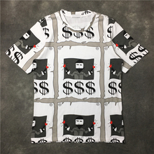 2017 Newest US hip hop 3D black hand dollars $ printing men short sleeved t shirt Fashion casual cotton tee S-XL KANYE WEST