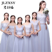 JLZXSY New Silver Gray Wedding Elegant Cheap Long Maxi Dresses for Bridesmaid 2017 A-Line Formal Party Ball Gown Dress 6 Styles