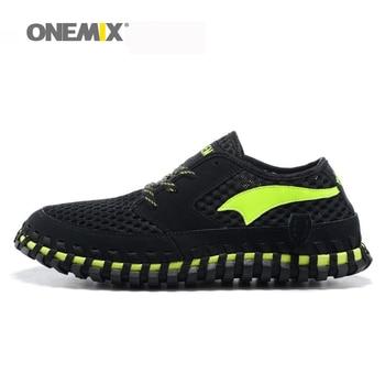 Hombres zapatos corrientes onemix arco zapatillas de deporte de las mujeres respirables vadeando los zapatos perezosos zapatos de deporte unisex de tejer zapatillas tamaño eu36-45