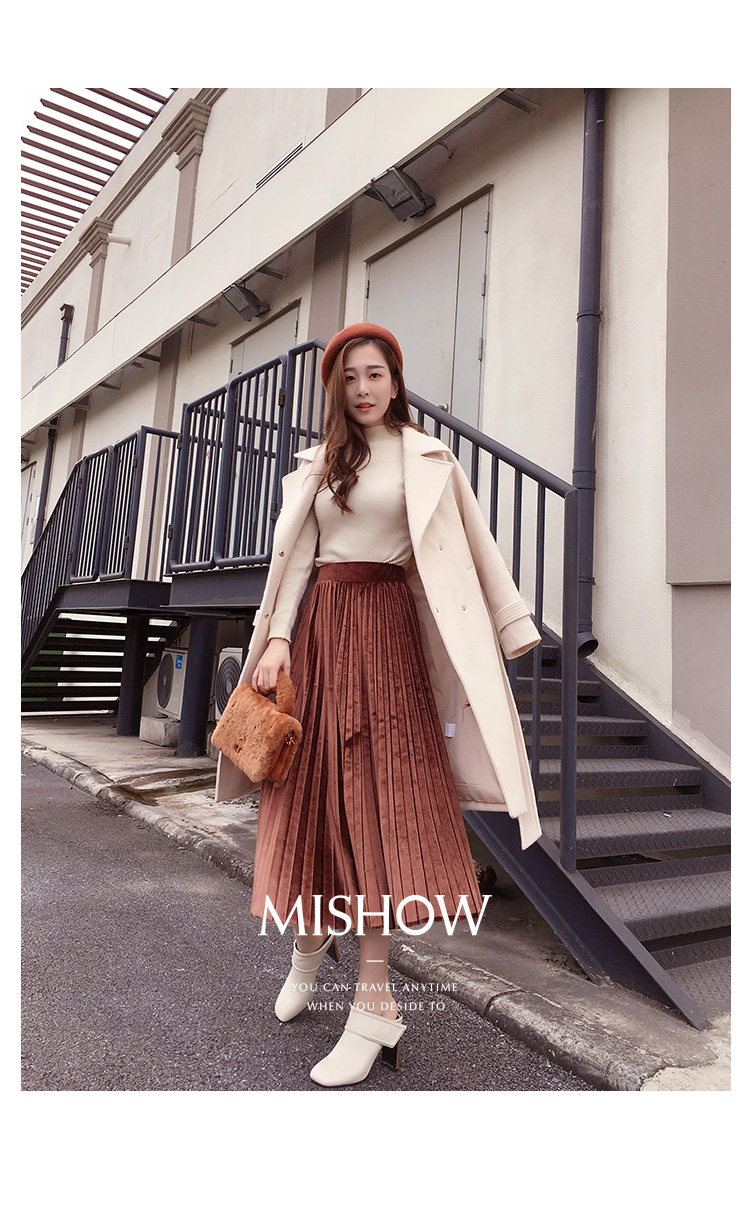 Mishow 19 autumn and winter woolen coat female Mid-Long New Korean temperament women's popular woolen coat MX17D9636 21