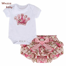 2Pcs/Lot Newborn Infant Baby Girls Clothing Sets Cotton Flower Print Summer Romper+Shorts Baby Sets Girl Clothes(China)