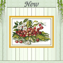 Cherry fruit tray flower Counted print on canvas DMC 14CT 11CT Cross Stitch Needlework kits Embroidery Sets home decor paintings