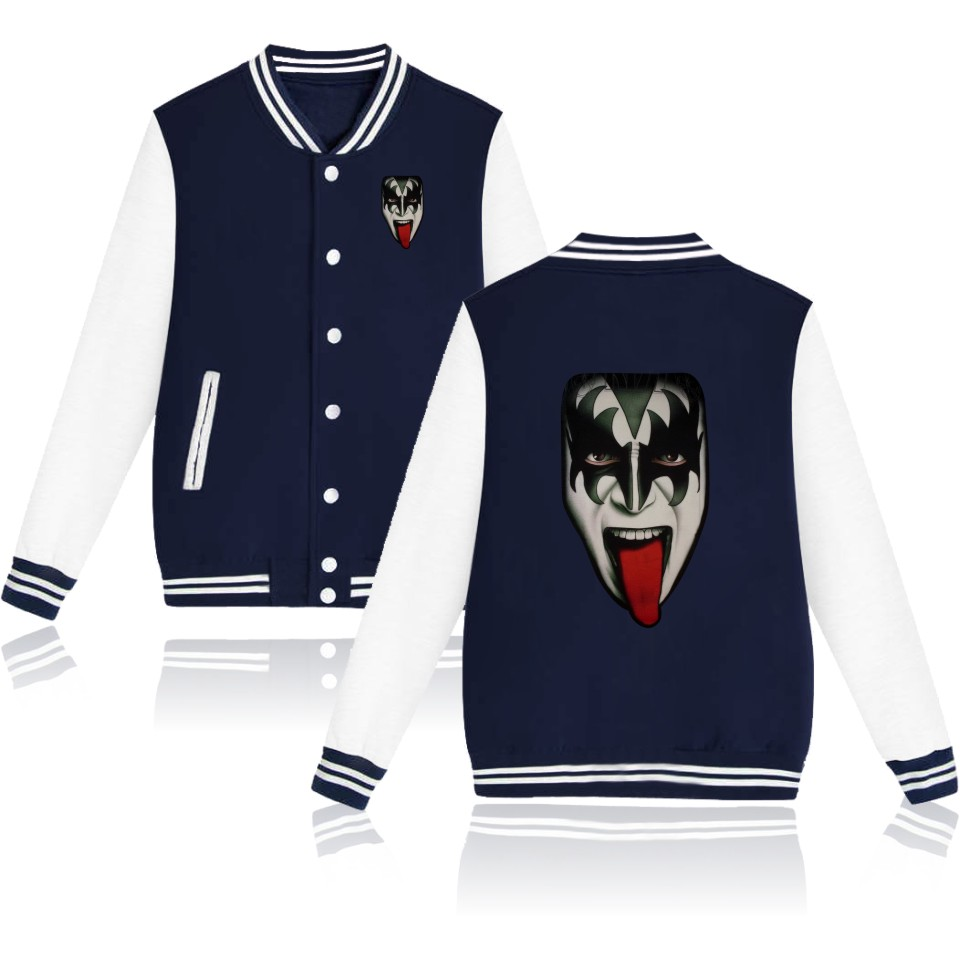Rock MUSIC BAND KISS College Baseball Jacket Women for Autumn Spring Womens Winter Jackets and Coats Elegant Girl and Lady(China (Mainland))