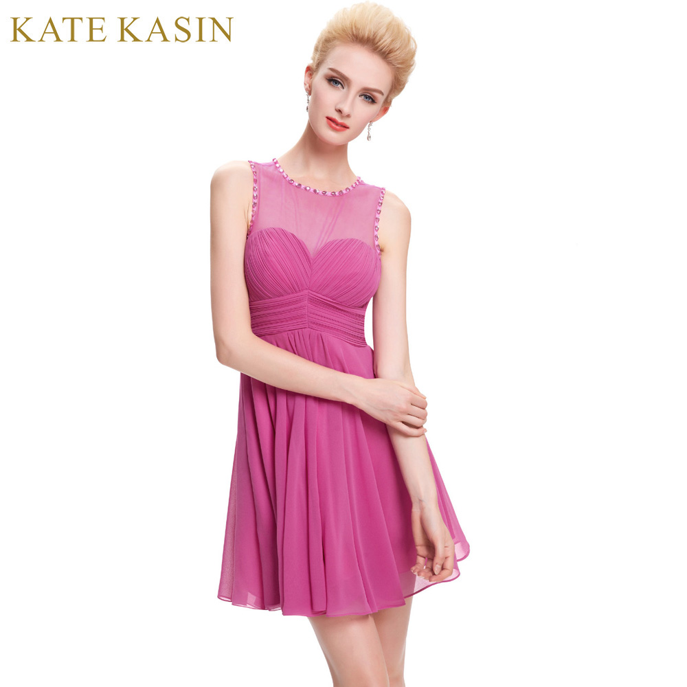 Online buy wholesale girls pink bridesmaid dresses from china kate kasin junior girls bridesmaid dresses pink lace see through back wedding prom dress summer mini ombrellifo Images