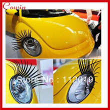 Free shipping 2pcs/lot Auto eyelashes Fashion Car Eyelashes PVC Logo Stickers Lashes Decal Accessories stereo car stickers