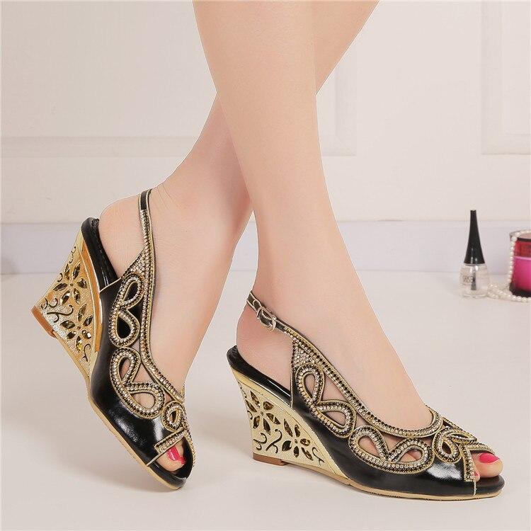 2017 Summer New Diamond Fashion Womens Black Peep Toe Wedges Bridal Sandals Wedding Shoes High Heels Cause Footwear-2