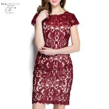 ElaCentelha Women Dress High Quality Spring Euro Style Gauze Lace Patchwork Embroidery Dress Short Sleeve New Bodycon Dresses
