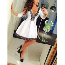 Sexy Deep V Party Dresses Pleated Three Quarter Ball Gown Women Dress White Summer Spring Casual Vestido De Festa Vintage