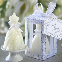 New Arrive White Elegant Boxed Bridal Bride Gown Dress Design Candle Wedding Party Decor