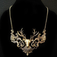 Hot Sale Women Retro Jewelry Gift Girl Antique Silver Gold Alloy Moose Deer Head Horn Pendant Choker Collar Maxi Necklaces NK129