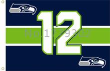 (ship from us)Seattle Seahawks Flag Logo Only 3ft x 5ft 100% Polyester Patio, Lawn & Garden  Outdoor Flags
