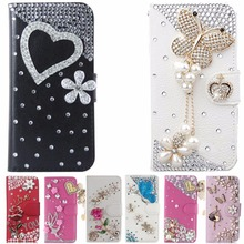Luxury Bling Diamond Flip Leather Phone Case For Huawei P8 LITE 2017/P9 LITE 2017/Honor 8 lite,Wallet Style Cover With Card Slot(China)