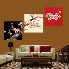 3 Panels Modern Canvas Painting Plum Pattern Wall Art Modular Pictures For Living Room Unframed Oil Cuadros Decoracion Poster